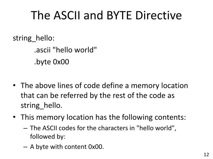 The ASCII and BYTE Directive