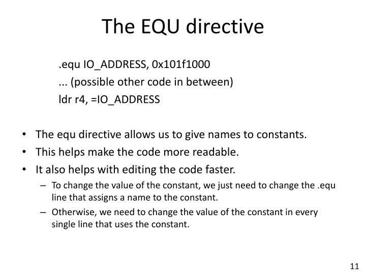 The EQU directive
