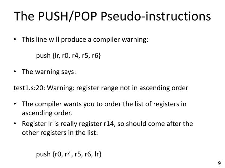 The PUSH/POP Pseudo-instructions