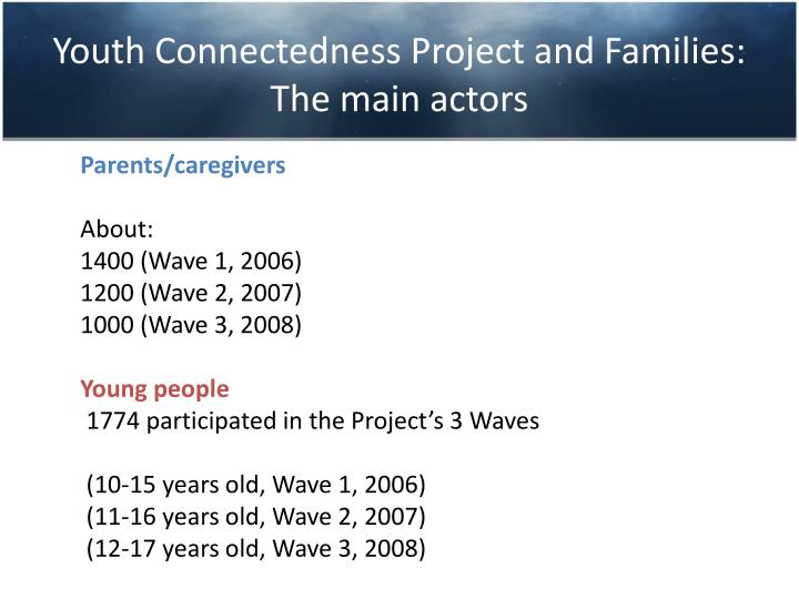 Youth Connectedness Project and Families: