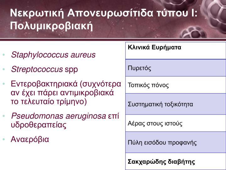Νεκρωτική Απονευρωσίτιδα τύπου Ι: Πολυμικροβιακή