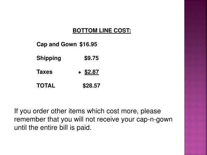 BOTTOM LINE COST: