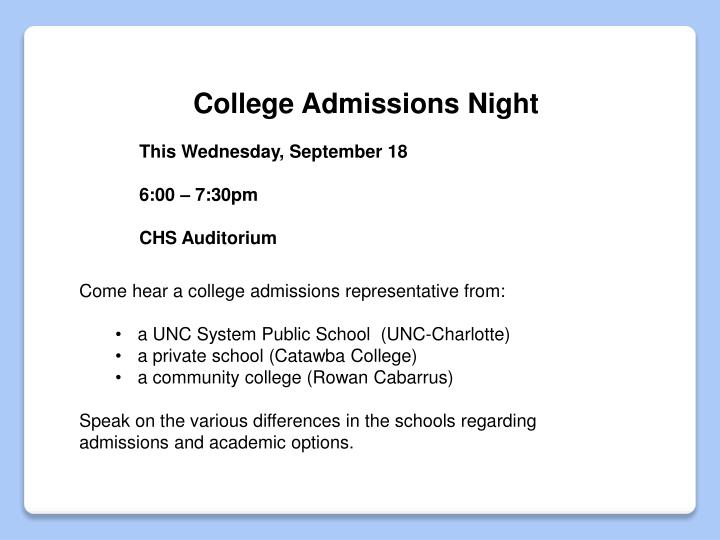College Admissions Night