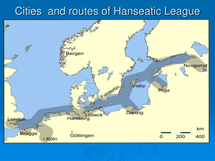 Cities  and routes of Hanseatic League