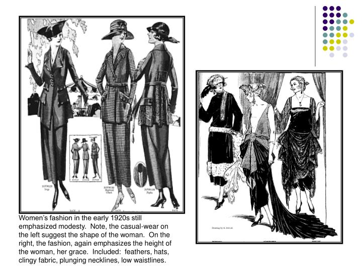 Women's fashion in the early 1920s still emphasized modesty.  Note, the casual-wear on the left suggest the shape of the woman.  On the right, the fashion, again emphasizes the height of the woman, her grace.  Included:  feathers, hats, clingy fabric, plunging necklines, low waistlines.
