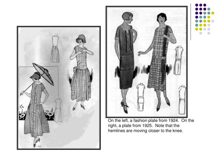 On the left, a fashion plate from 1924.  On the right, a plate from 1925.  Note that the hemlines are moving closer to the knee.