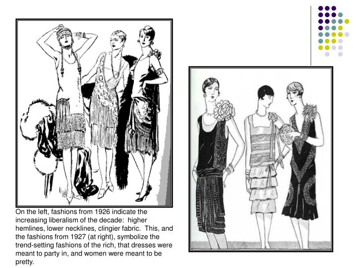 On the left, fashions from 1926 indicate the increasing liberalism of the decade:  higher hemlines, lower necklines, clingier fabric.  This, and the fashions from 1927 (at right), symbolize the trend-setting fashions of the rich, that dresses were meant to party in, and women were meant to be pretty.