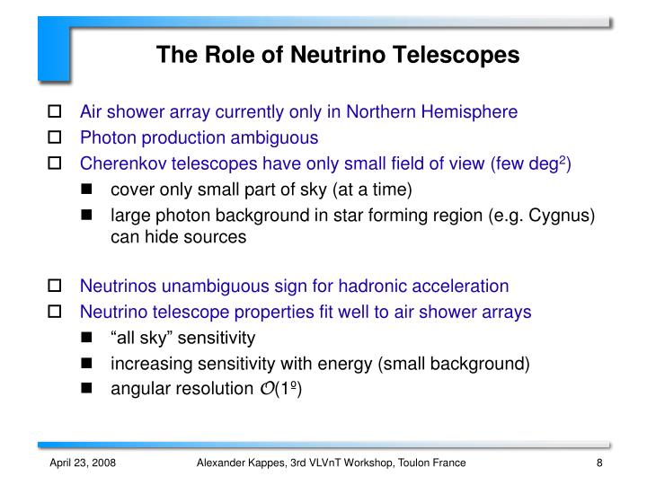 The Role of Neutrino Telescopes