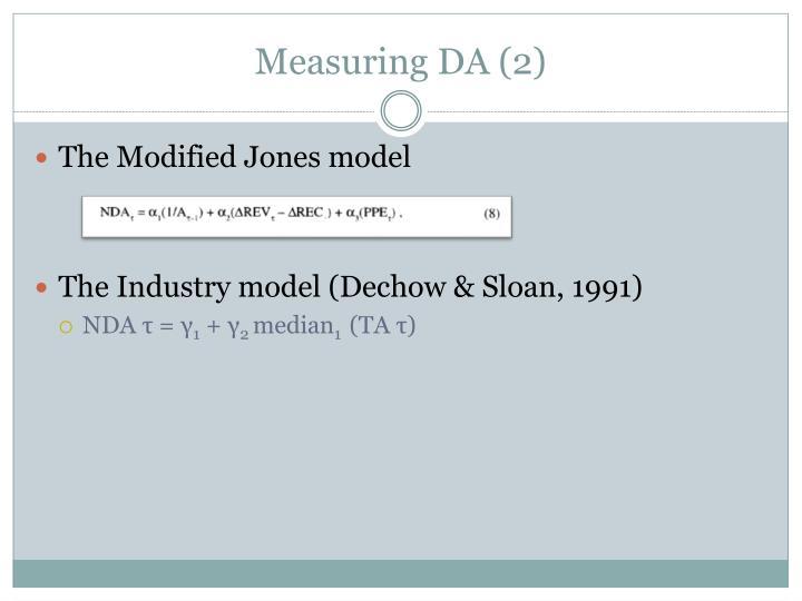 Measuring DA (2)