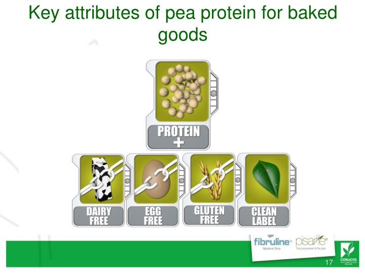 Key attributes of pea protein for baked goods