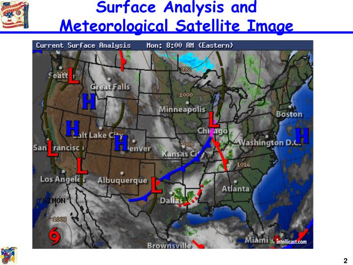 Surface analysis and meteorological satellite image
