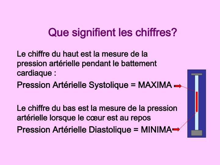 Le chiffre du haut est la mesure de la pression artérielle pendant le battement cardiaque :