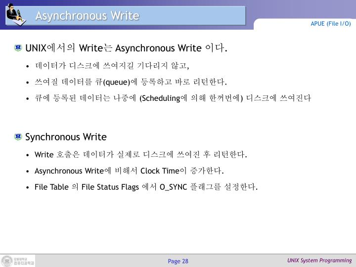 Asynchronous Write