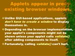 applets appear in pre existing browser windows