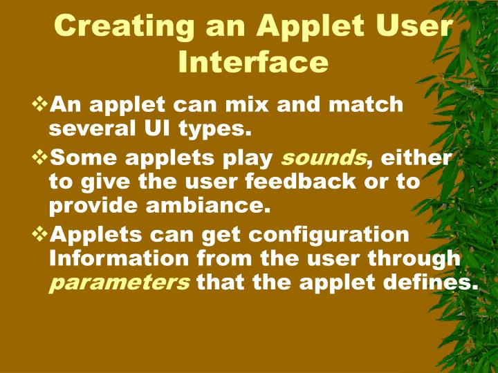 Creating an Applet User Interface