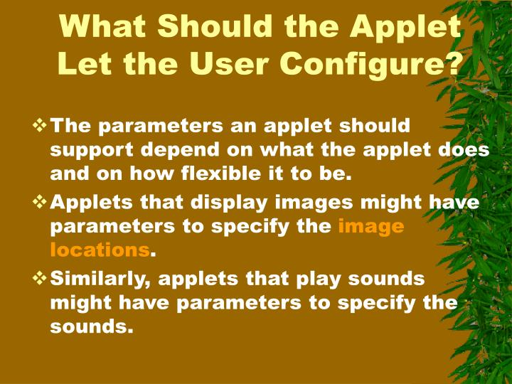 What Should the Applet Let the User Configure?