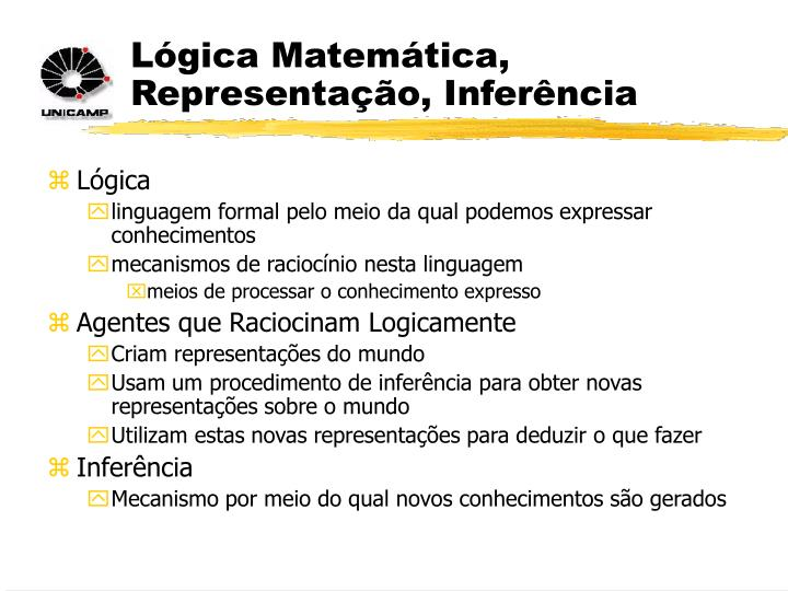 Lógica Matemática, Representação, Inferência