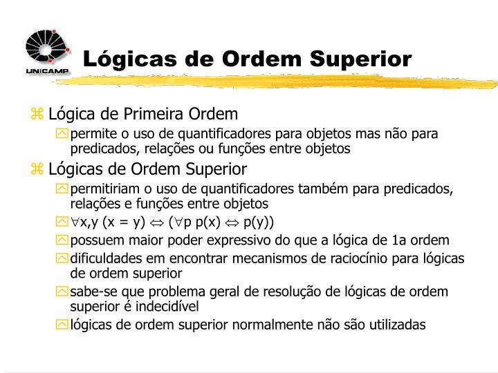 Lógicas de Ordem Superior