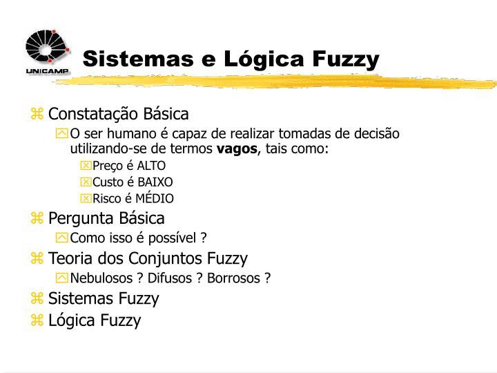 Sistemas e Lógica Fuzzy