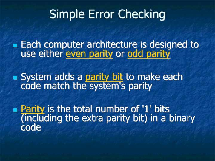 Simple Error Checking
