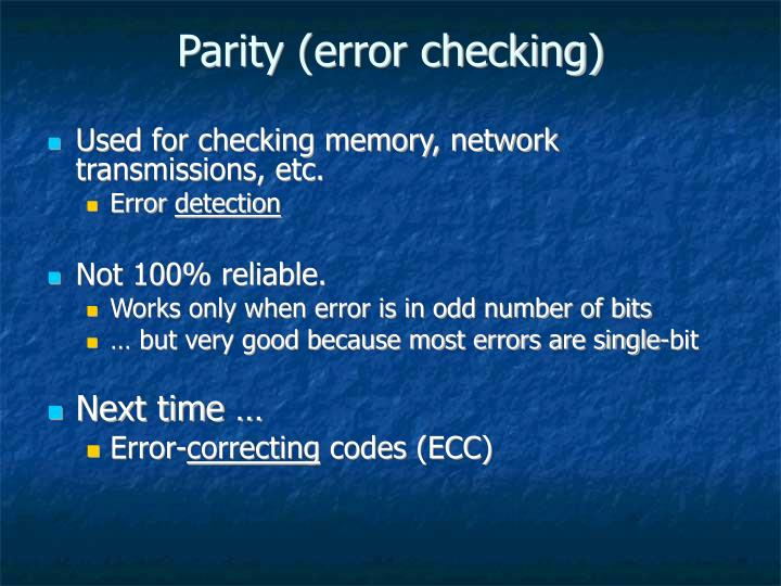 Parity (error checking)