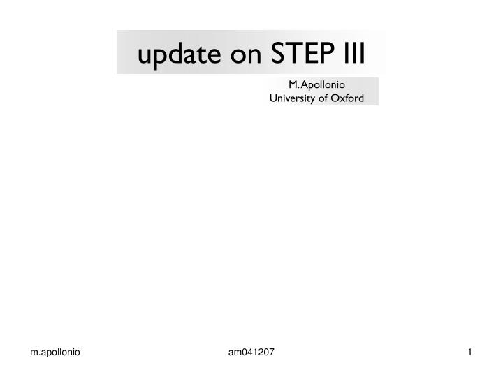 Update on step iii