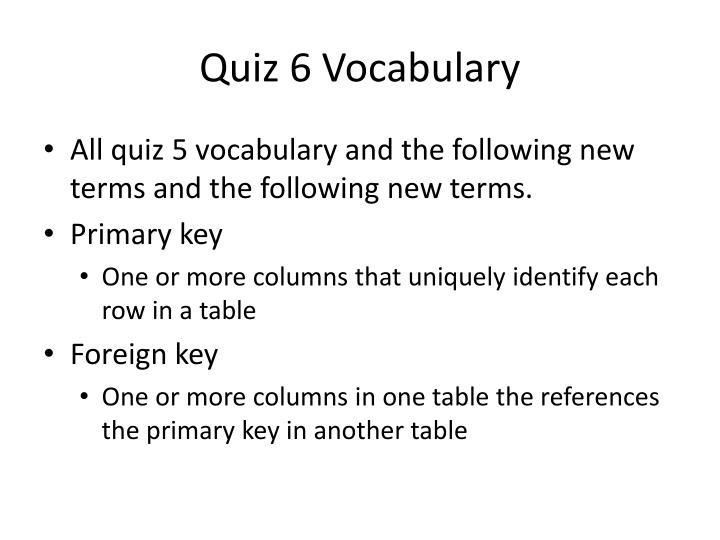 Quiz 6 Vocabulary