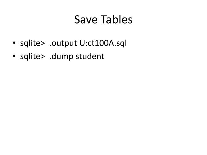 Save Tables