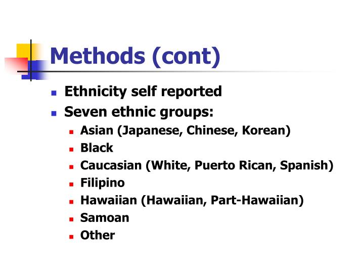 Methods (cont)