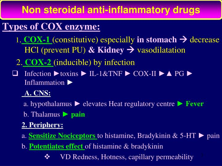 Non steroidal anti-inflammatory drugs