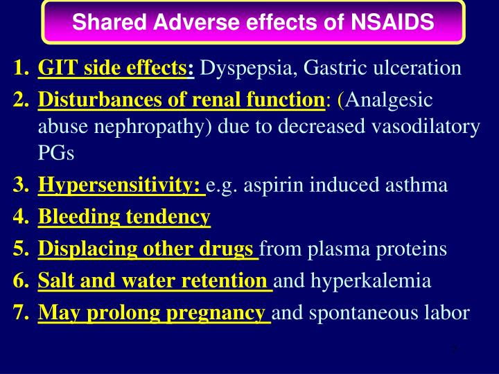 Shared Adverse effects of NSAIDS