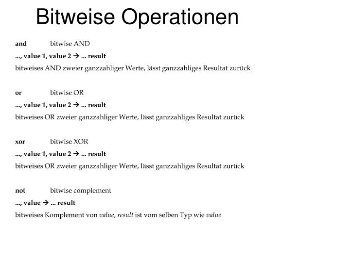 Bitweise Operationen