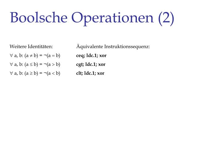 Boolsche Operationen (2)