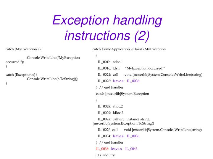 Exception handling instructions (2)