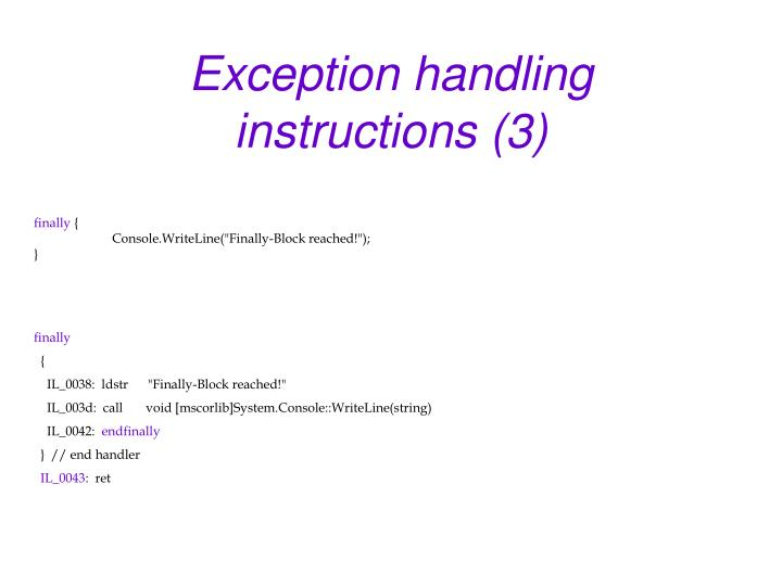 Exception handling instructions (3)