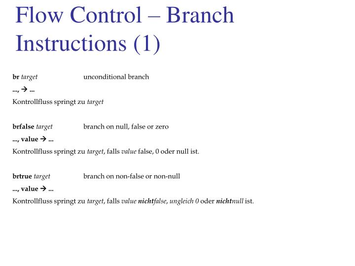 Flow Control – Branch Instructions (1)