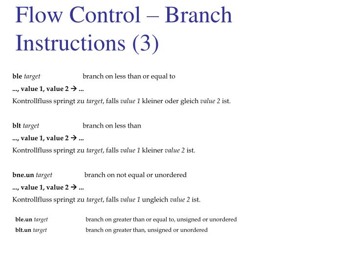 Flow Control – Branch Instructions (3)