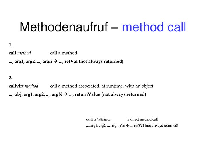 Methodenaufruf –