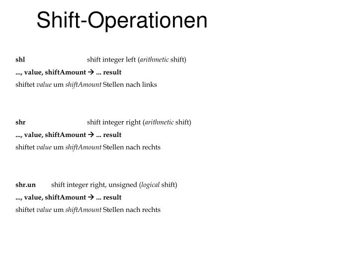 Shift-Operationen