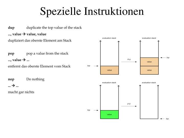Spezielle Instruktionen