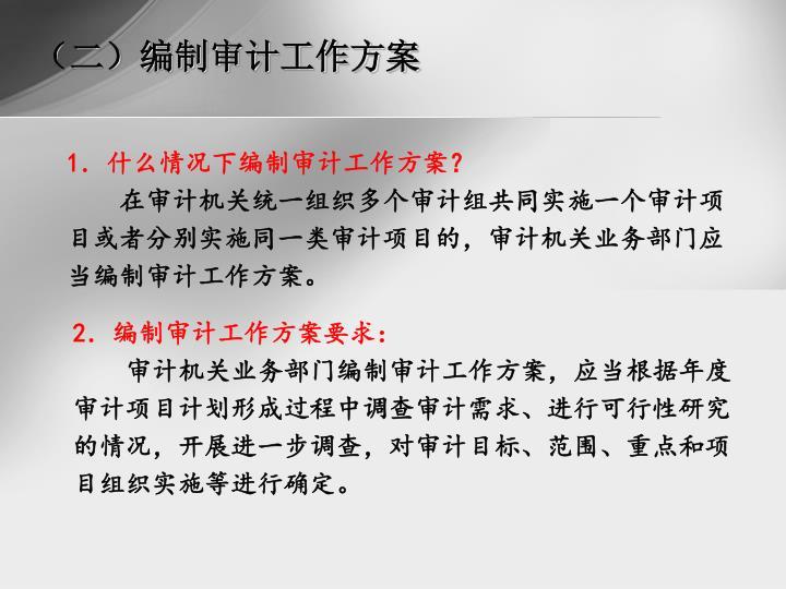 (二)编制审计工作方案