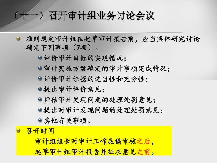 (十一)召开审计组业务讨论会议