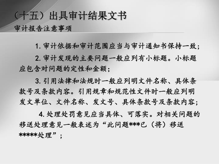 (十五)出具审计结果文书