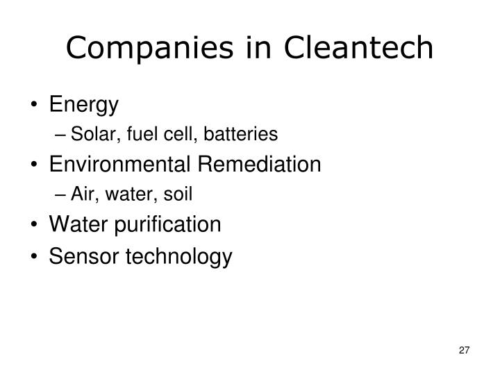 Companies in Cleantech