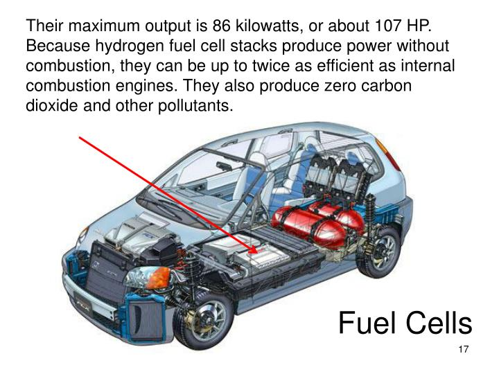 Their maximum output is 86 kilowatts, or about 107 HP. Because hydrogen fuel cell stacks produce power without combustion, they can be up to twice as efficient as internal combustion engines. They also produce zero carbon dioxide and other pollutants.