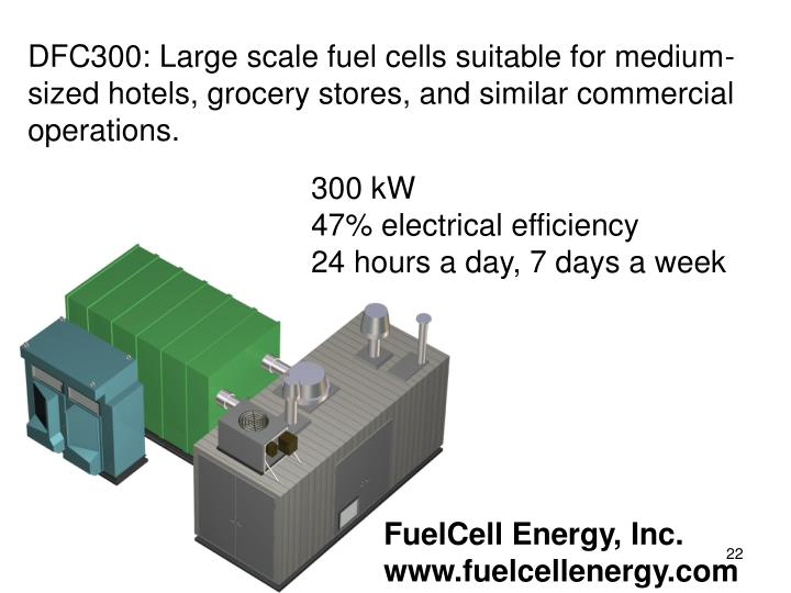 DFC300: Large scale fuel cells suitable for medium-sized hotels, grocery stores, and similar commercial operations.