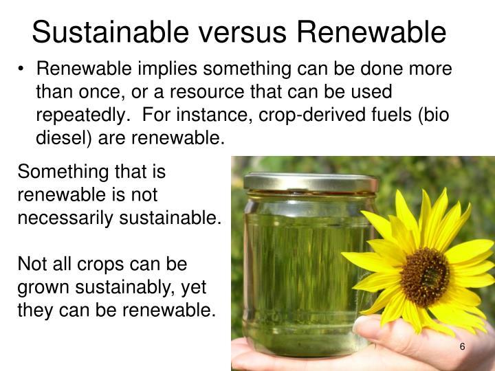 Sustainable versus Renewable