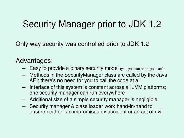Security Manager prior to JDK 1.2