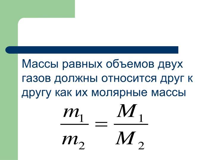 Массы равных объемов двух газов должны относится друг к другу как их молярные массы