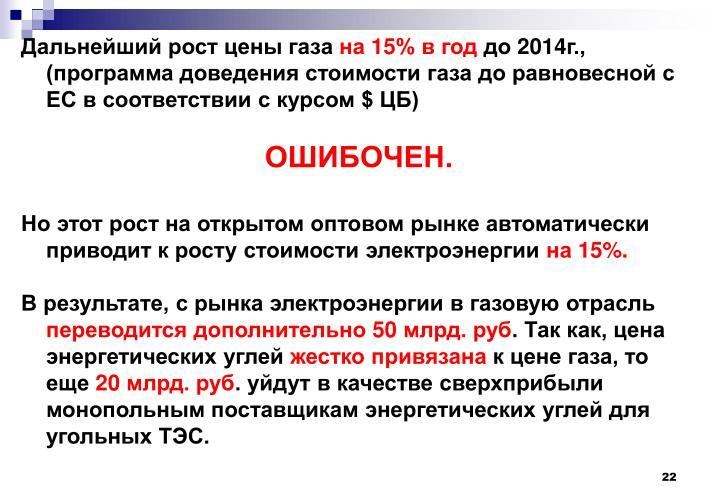 Дальнейший рост цены газа